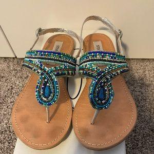 Steve Madden Blue Beaded Sandals
